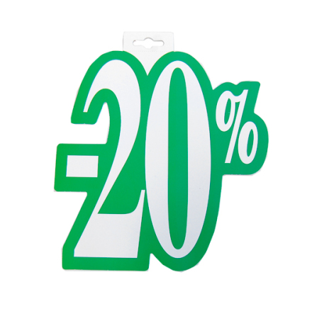 Skylt 20%, utskuren