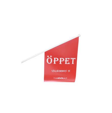 "Butiksflagga ""ÖPPET"" Röd vinyl"